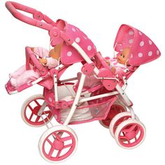 Badger Basket Reversible Double Doll Stroller for 16 in. Dolls - Pink Polka Dots - Take your baby dolls for a stroll with the Badger Basket Reversible Double Doll Stroller for 16 in. Designed with your doll's. Girl Dolls, Baby Dolls, Baby Doll Nursery, Bb Reborn, Reborn Babies, Baby Doll Strollers, Baby Doll Accessories, Dolls Prams, Double Strollers