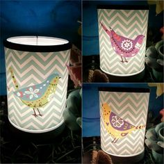 The 2017 February Warmer of the month ~ CHEVRONS AND SONGBIRD SCENTSY LAMPSHADE WARMER  A funky fusion of chevron stripes and folk art birds beam from an illuminated canvas.  6.5″ tall, 25W