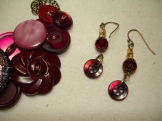 Your place to buy and sell all things handmade Shades Of Burgundy, Deep Burgundy, Fancy Buttons, Vintage Buttons, Button Necklace, Fabric Covered Button, Metallic Thread, Sparklers, Glass Beads