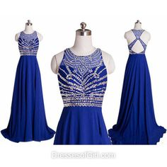 Open Back Prom Dresses, Chiffon Prom Dress, Long Evening Dresses, Cheap Party Dresses, Royal Blue Formal Dresses
