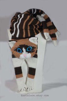 Siamese Cat Scarf Knitting animal scarf, Multi color cat scarf, Hand Knitting scarf.