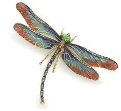 A plique-à-jour enamel and diamond dragonfly brooch.