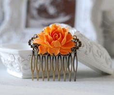 Tangerine Orange Rose Flower Hair Comb. Orange Wedding by LeChaim, $15.00