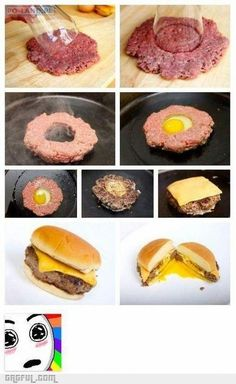 Funny pictures about Egg burger. Oh, and cool pics about Egg burger. Also, Egg burger photos. Hamburger With Egg, Hamburger Patties, Perfect Hamburger, Veggie Patties, Hamburger Recipes, I Love Food, Good Food, Yummy Food, Awesome Food