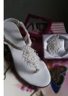 Woman's Wedding Shoes Macrame and Leather Sandals by KateNikolova