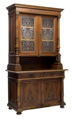 VICTORIAN CARVED WALNUT GLAZED CABINET EARLY 20THC