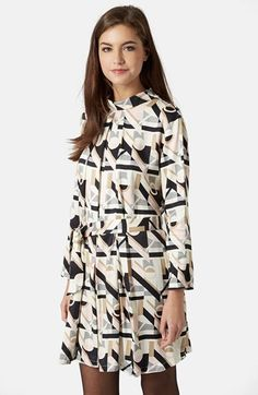 Topshop High Neck Geo Print Dress available at #Nordstrom