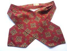 VINTAGE DAY CRAVAT ASCOT 'Favourite' Light Burgundy, Green, Gold Design FREE P&P #Cravat