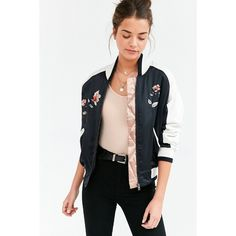 Silence + Noise On Tour Satin Varsity Bomber Jacket ($159) ❤ liked on Polyvore featuring outerwear, jackets, bomber jackets, bomber, tops, women's jacket, embroidered bomber jackets, satin varsity jacket, letterman jackets and satin jackets