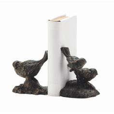 ARTERIORS Home Sparrow Bookend with Gold Highlights in Bronze (Set of 2)