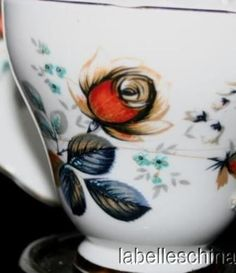 Delphine English Tea Cup and Saucer HPT Striking Black Rose w Orange Teacup Duo #Delphine