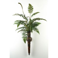 Simple! Leather Fern in Metal Wall Sconce