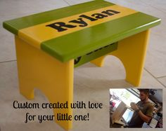 Child's Personalized Custom Step Stool by CasualTeeCo on Etsy, $50.00