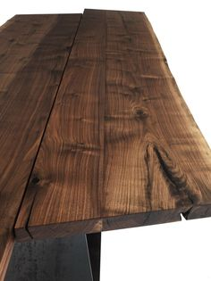 Riva 1920, made in Italy: Bedrock Plank B table, project by Terry Dwan. Solid walnut top.