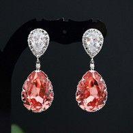 Rose Peach Swarovski Crystal Bridesmaid earrings, party earrings from EarringsNation