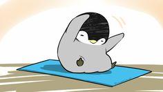 Penguins can do yoga! Penguin Cartoon, Penguin Art, Penguin Love, Cute Cartoon, Penguin Pictures, Cute Pictures, Cute Animal Drawings, Cute Drawings, Pinguin Drawing