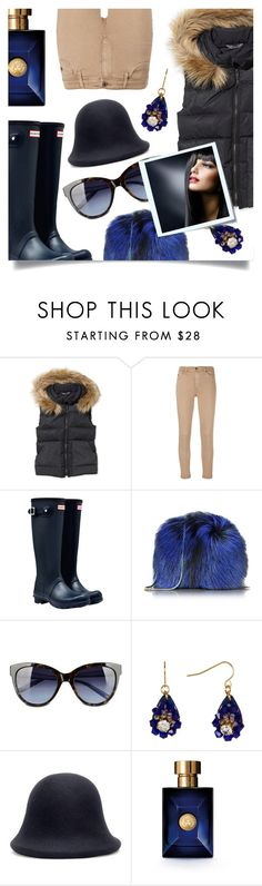 """""""Puffer Jacket"""" by tara-omar ❤ liked on Polyvore featuring L.L.Bean, AG Adriano Goldschmied, Hunter, Diane Von Furstenberg, Love Moschino, Carolee, Yohji Yamamoto, Versace, Post-It and puffers"""