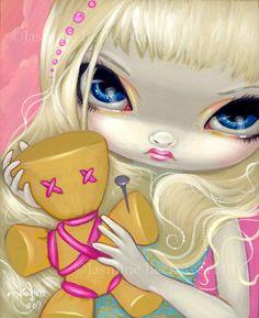 "Voodoo Doll Fairy set of prints by Jasmine Becket-Griffith - gothic fairy art with voodoo dolls - ""Voodoo in Blue"" ""Voodoo in Violet"" ""Voodoo in Pink"" Betty Boop, Pink Doll, Gothic Fairy, Voodoo Dolls, Beautiful Fairies, Pink Art, Objet D'art, Eye Art, Fairy Art"