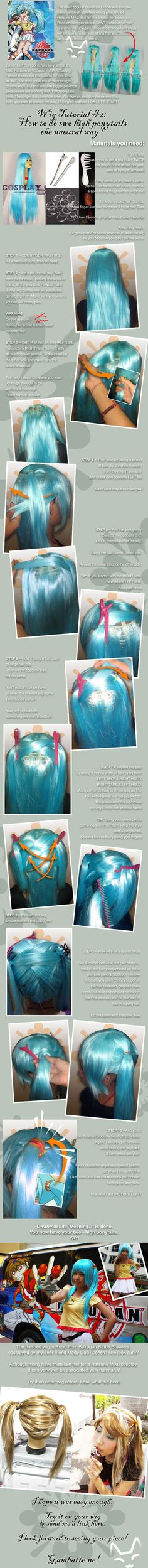 Wig Tutorial: 2 high ponytails by *kasaikun16 on deviantART time to redo my gaige wig