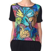 Women's Chiffon Top #redbubble #chiffon #top #shirt #women #butterflies #butterflylover #fashion #chic #watercolor