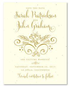 Unique Save the Date cards on Seeded Paper ~ Gentle Whimsy by ForeverFiances Weddings. With classic style and an exquisite touch of modern, this beautiful green wedding stationery will be perfect for a garden reception. Typography Wedding Invitations, Unique Wedding Invitations, Elegant Wedding Invitations, Wedding Stationery, Gala Invitation, Unique Save The Dates, Seed Paper, Sophisticated Wedding, Save The Date Cards