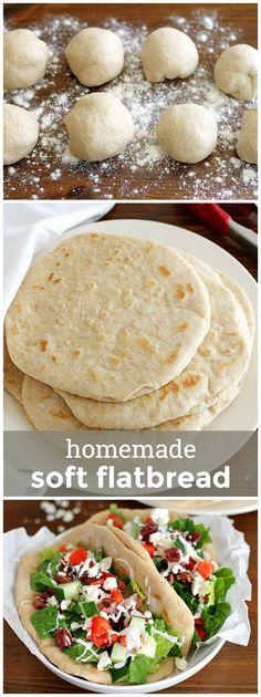 Homemade Soft Flatbread -- perfect for pita sandwiches, pizzas or to scoop your favorite dip! http://girlversusdough.com /girlversusdough/