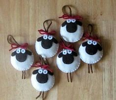 Sheep ornaments. I think you can suss out how to make one by looking at the photo.