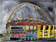 ORIGINAL WATERCOLOUR PAINTING WEMBLEY STADIUM LONDON AT NIGHT CITYSCAPE    eBay