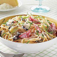 Spaghetti with Eggplant, Ricotta and Tomatoes Recipe | MyRecipes.com Subsitute Zuccini for the eggplant.