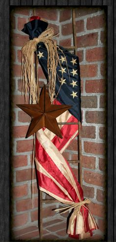 #USA #GodBlessAmerica #patriotic  / Patriotic front porch decoration <3 Found on: http://www.especiallyforyouhomedecor.com/products/replica-american-flag-ladder
