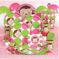 Girl's Monkey Party Ideas / Pink Mod Monkey Party Supplies Kids Birthday Paint Party Toy Story 2 ballerina themed birthday party via Kara's . Girl Monkey Birthday, Monkey Birthday Parties, 1st Birthday Party Supplies, Girl First Birthday, Birthday Ideas, Monkey Girl, Birthday Cakes, Monkey Baby, Birthday Stuff