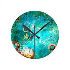 Grungel Floral on Green Background Round Clock