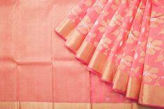 Embody pastel grace in this coral pink and gold Kanjivaram highlighted with floral motifs. Kanjivaram Sarees, Kanchipuram Saree, Bridal Sarees, Saree Wedding, Soft Silk Sarees, Cotton Saree, Saree Dress, Saree Blouse, Indian Clothes