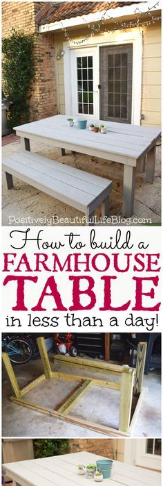 Our DIY patio table, part IA DIY tutorial for farmhouses / patio tables about Yellow Brick Home - how to build a patio table, an outdoor table, a DIY outdoor table, and a DIY dining Outdoor Farmhouse Table, Diy Outdoor Table, Diy Farmhouse Table, Diy Outdoor Furniture, Diy Patio, Outdoor Dining, Diy Furniture, French Farmhouse, Farm Table Diy