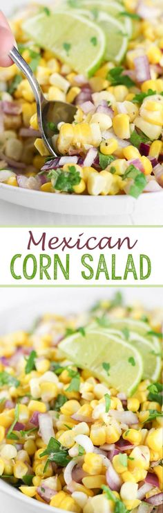 Mexican Corn Salad - Eazy Peazy Mealz Find some new ideas for a healthy lunch to pack Tip Pack your lunch Sarah Thomas Top 10 Tips Teacher Wellbeing Self care Healthy eating Healthy Side Dishes, Vegetable Side Dishes, Side Dish Recipes, Easy Dinner Recipes, Great Recipes, Favorite Recipes, Corn Salad Recipes, Corn Salads, Savory Salads