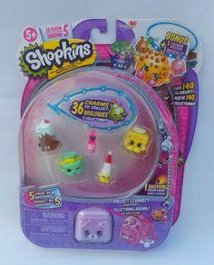 Shopkins Season 5 Charms and Bracelet 5 Pack with Bonus Charm Petkins Backpack #MooseToys