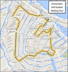 One Day in Amsterdam self guided walking tour map:
