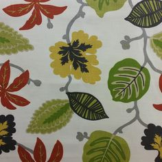 This is a red, yellow, green and black floral cotton drapery fabric, suitable for any decor in the home or office. Perfect for pillows, drapes and bedding.v281TRF