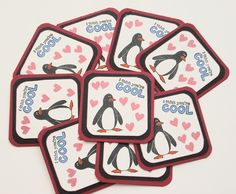 Penguin Mini Valentine's Day Cards Red Black I think by Paperika, $15.00