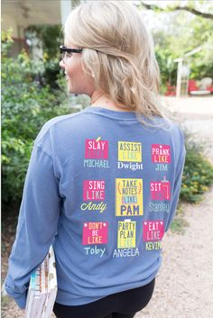 Hello My Name Is - Long Sleeve Color: Blue Jean 100% pre-shrunk, ringpsun pigment-dyed cotton Brooke is wearing size MEDIUM. Product runs 1/2 size smaller