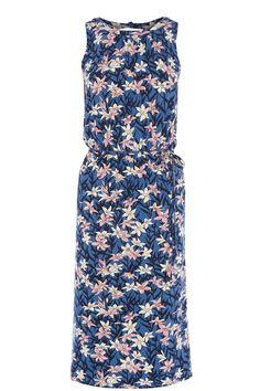 OASIS | Lilly Blues Print Midi Dress | 95% viscose, 5% elastane | £35