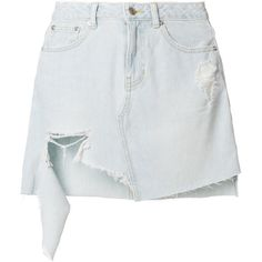 SJYP ripped denim skirt (7.427.480 VND) ❤ liked on Polyvore featuring skirts, blue, blue skirt, ripped denim skirt, distressed denim skirt, knee length denim skirt and denim skirt
