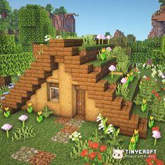 Casa Medieval Minecraft, Minecraft Garden, Minecraft House Plans, Minecraft Farm, Minecraft Mansion, Minecraft Houses Survival, Easy Minecraft Houses, Minecraft House Tutorials, Minecraft House Designs