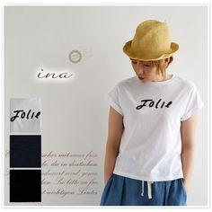 【ina イナ】フロッキー プリント フレンチ ロゴ Tシャツ (162224)