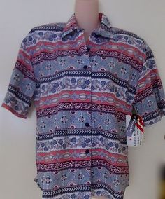 CALICHE' WOMENS BUTTON DOWN TOP MULTI COLOR PINK BLUE FLORAL MEDIUM NEW  http://r.ebay.com/bKVKP7