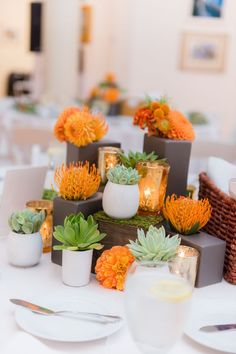 The Astounding Orange Wedding Table Decorations 30 With Additional Wedding Dessert Table With Orange Wed diy modern design tables and chairs for wedding plan set up decor ideas online wallpaper hd Orange Centerpieces, Modern Wedding Centerpieces, Succulent Centerpieces, Wedding Table Decorations, Wedding Desserts, Decoration Table, Table Centerpieces, Unique Centerpieces, Wedding Tables