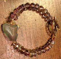Agate druzy bracelet with sparkling Czech glass by Cherie Anne
