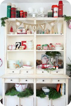 Christmas Hutch. Those thermoses are adorable!!