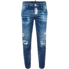 Dsquared2 Hockney distressed patchwork jeans ($620) ❤ liked on Polyvore featuring jeans, blue, dsquared2, bleached jeans, button fly jeans, destroyed jeans and ripped jeans