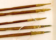 Haida hand-poking tattooing tools, close to life-size.